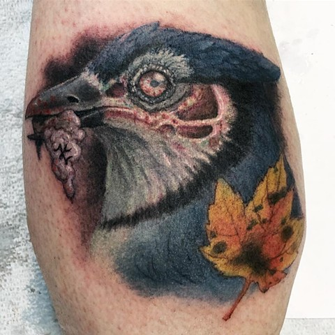 Zombie Bluejays Logo Tattoo By Steve Hayes Color Black Gold Tattoo Co