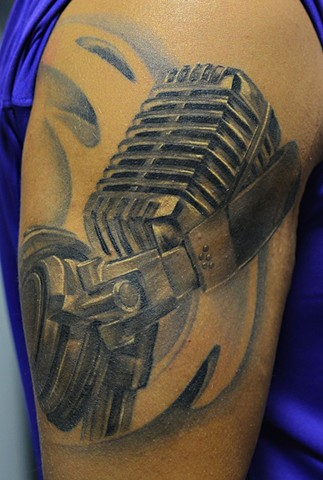 Microphone And Headphones Tattoo By Josh Lamoureux Black And Grey Black Gold Tattoo Co