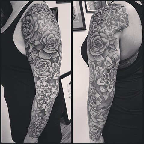 Mandalas With Roses Tattoo By Jess Alther Black And Grey Black Gold Tattoo Co