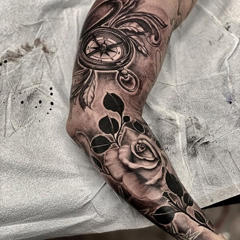 Compass and Rose Tattoo By Romeo Ostiguy Black And Grey Black Gold Tattoo Co