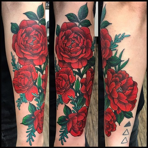Flowers Tattoo By Jess Alther Color Black Gold Tattoo Co
