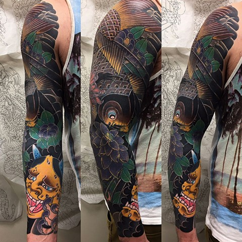 Hannya Mask And Koi Cover-up Tattoo By Guka Color Black Gold Tattoo Co