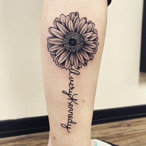 Flower With Script Tattoo By Jess Alther Black And Grey Black Gold Tattoo Co