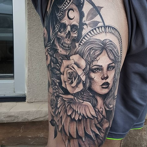 Grim Reaper And Angel With Roses Tattoo By Sasha Roussel Black And Grey Black Gold Tattoo Co