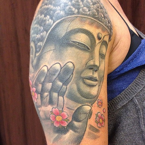 Buddha Tattoo By Lee Conklin Black And Grey With COlor Black Gold Tattoo Co