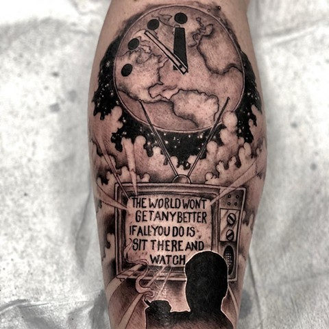 Dooms Day Clock and Script By Romeo Ostiguy Black And Grey Black Gold Tattoo Co