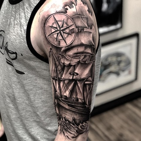 Ship and Compass Tattoo By Romeo Ostiguy Black And Grey Black Gold Tattoo Co