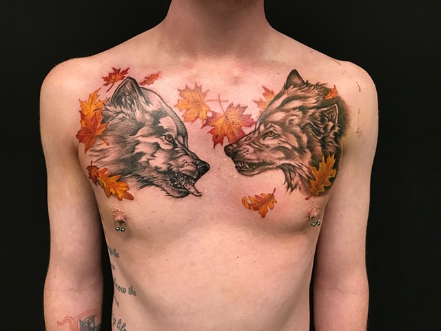 Wolves Tattoo By Amber Strange Color Black Gold Tattoo Co