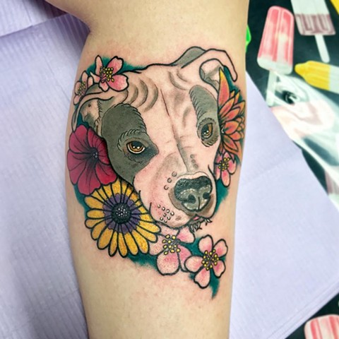 Dog In Flowers Tattoo By Jess Alther Color Black Gold Tattoo Co