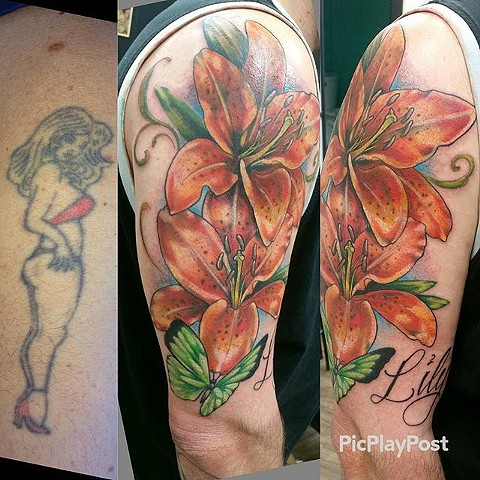 Floral Cover-Up Tattoo By Ashley Hoff Color Black Gold Tattoo Co