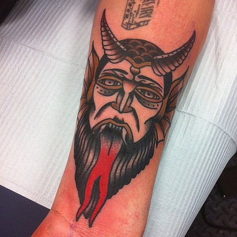 Traditional Devil Tattoo By Spencer Evans Color Black Gold Tattoo CO