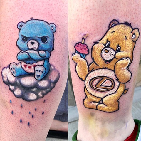 Care Bears Tattoos By Chris Labrenz Color Black Gold Tattoo Co
