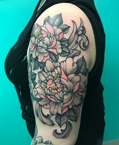Peonies Tattoo By Jess Alther Black And Grey With Color Black Gold Tattoo Co