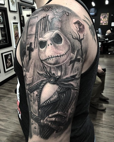 Jack Skellington Tattoo By Steve Hayes Black And Grey Black Gold Tattoo Co