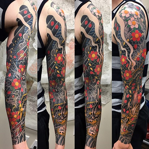 Dragon And Cherry Blossoms Tattoo By Guka Black And Grey With Color Black Gold Tattoo Co