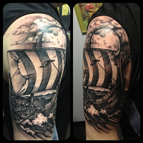 Ship Tattoo By Chad Clothier Black And Grey Black Gold Tattoo Co