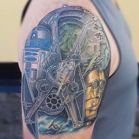 Star Wars Inspired Tattoo By Kevin Sherritt Color Black Gold Tattoo Co.