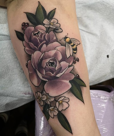 Flowers and Bees Tattoo By Sasha Roussel Color Black Gold Tattoo Co