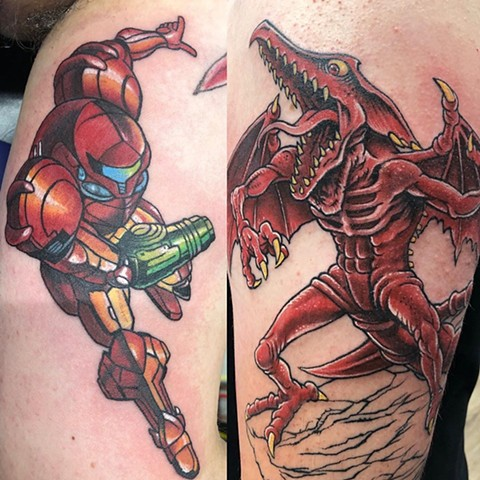Super Metroid Tattoo By Chris Labrenz Color Black Gold Tattoo Co.