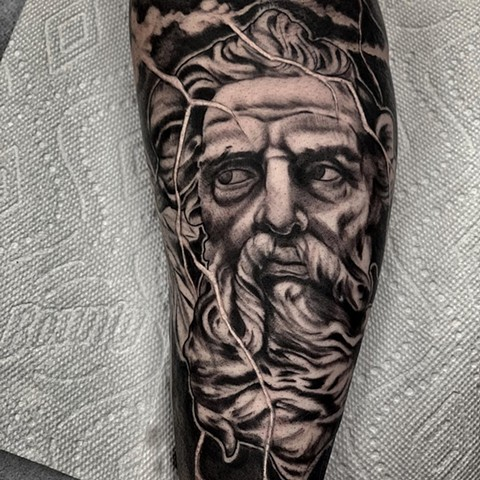 Zeus Tattoo By Romeo Ostiguy Black And Grey Black Gold Tattoo Co