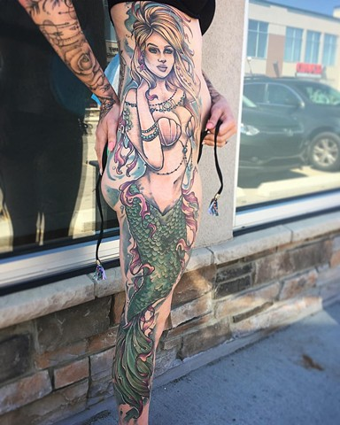 Mermaid Tattoo By Sarah Michelle Color Black Gold Tattoo Co
