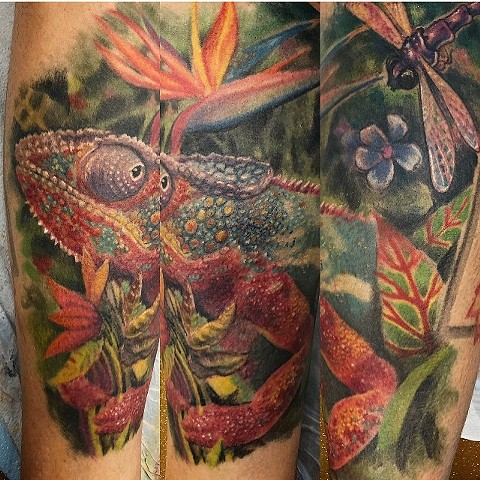 Chameleon Tattoo By Steve Hayes Color Black Gold Tattoo Co