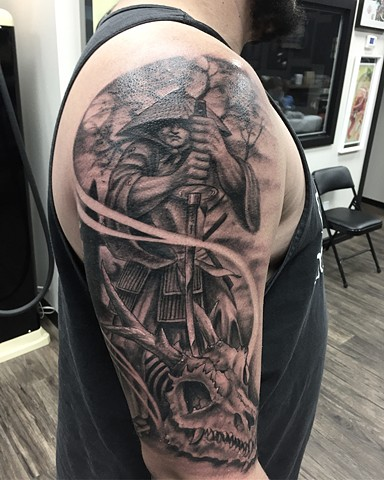Samurai Tattoo By Steve Hayes Black And Grey Black Gold Tattoo Co