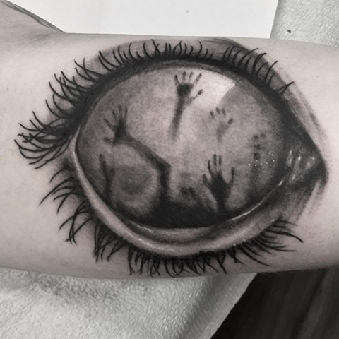 Creepy Eye Tattoo By Steve Hayes Black And Grey Black Gold Tattoo Co