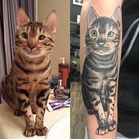 Cat Portrait Tattoo By Chris Labrenz Color Black Gold Tattoo Co