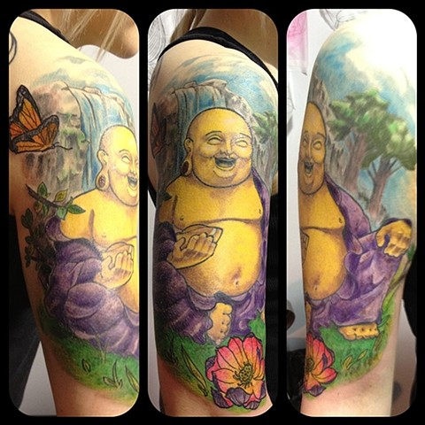 Buddha Tattoo By Chad Clothier Color Black Gold Tattoo Co