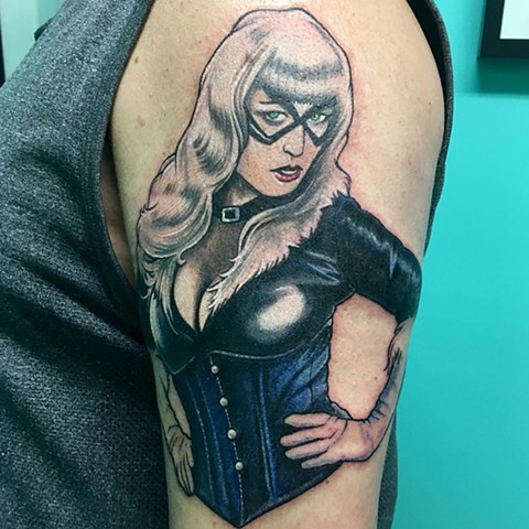 Betty Paige Black Cat Tattoo By Chris Labrenz Color Black Gold Tattoo Co