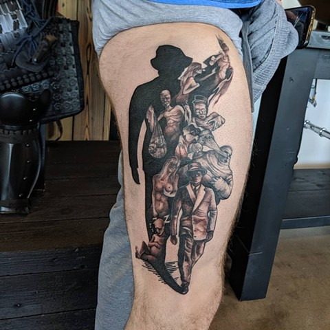 Body Horror Noir Leg Tattoo by Kevin Sherritt Black and Grey Black Gold Tattoo Co.