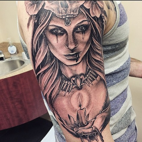 Girl Holding Candle Tattoo By Sarah Michelle Black And Grey Black Gold Tattoo Co