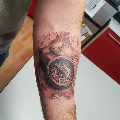 Map And Compass Tattoo By Kevin Sherritt Black And Grey Black Gold Tattoo Co.