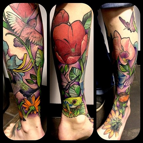 Birds With Frog And Flowers Tattoo By Chad Clothier Color Black Gold Tattoo Co