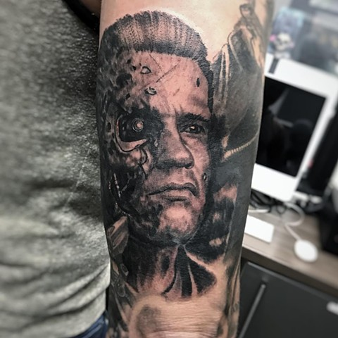 Terminator Tattoo By Alan Coates Black And Grey Black Gold Tattoo Co