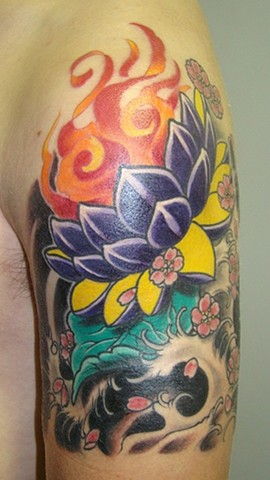 Lotus With Fire And Water Tattoo By Lee Conklin Color Black Gold Tattoo Co