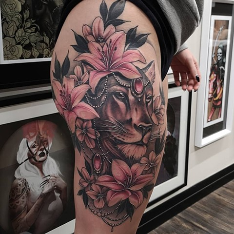 Lioness Tattoo By Sasha Roussel Color Black Gold Tattoo Co