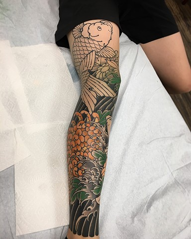 Koi Fish With Waves Tattoo By Guka Work in Progress  Black Gold Tattoo Co