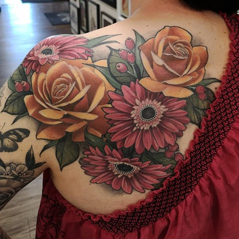 Floral Tattoo By Sasha Roussel Color Black Gold Tattoo Co