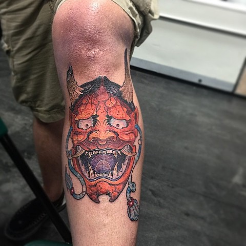 Hannya Mask Tattoo By Chris Benson Color Black Gold Tattoo Co
