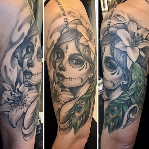 ffc4696bc Day Of The Dead Girl Tattoo By Sarah Michelle Black And Grey With Color  Black Gold