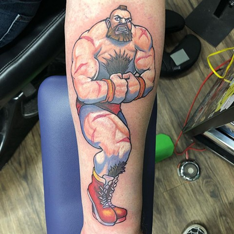 Street Fighter Zangief Tattoo By Chris Labrenz Color Black Gold Tattoo Co.