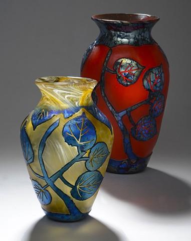 Santa Fe glass artist Bob Hazeltine uses Brilliant base colors with silver blue and opal black reductions.