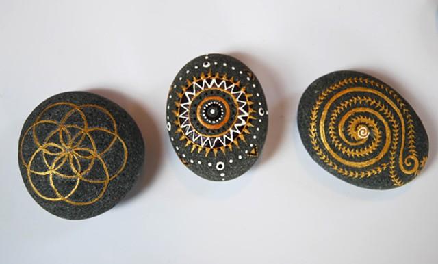 Hand painted decorative beach rocks