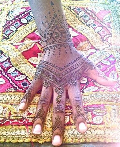 Moroccan style henna hand design