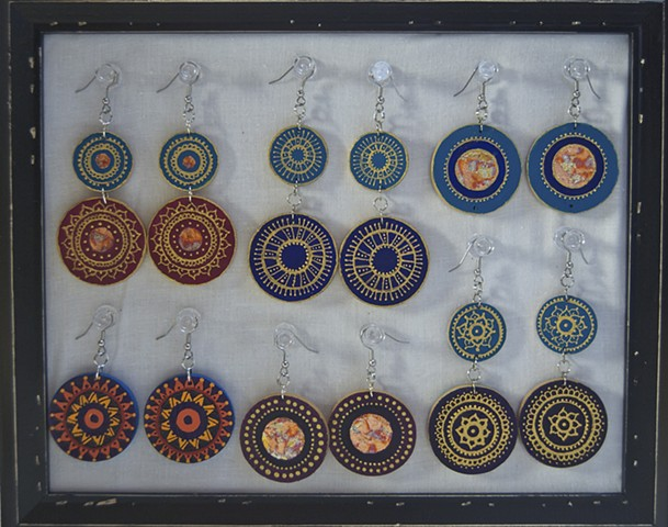 Hand painted light weight wooden earrings