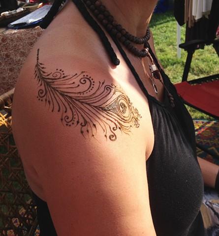 Henna Feather on shoulder
