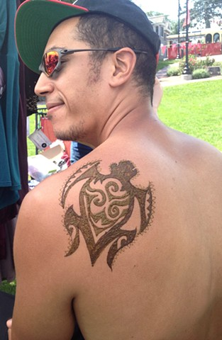 Henna Turtle on male back