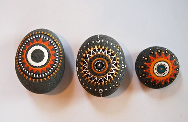 Hand painted decorative beach rocks